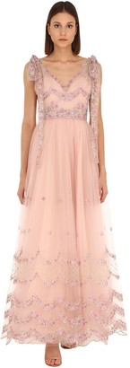 Luisa Beccaria EMBROIDERED TULLE LONG DRESS