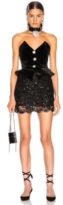 Alessandra Rich Sequin Velvet & Lace Bustier Mini Dress in Black | FWRD