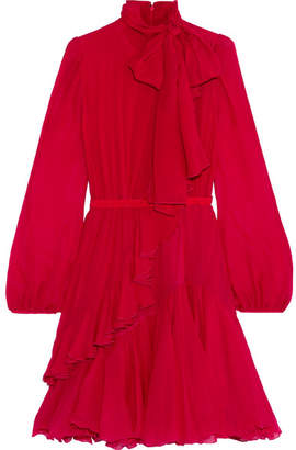 Giambattista Valli Ruffled Silk-chiffon Dress - Red