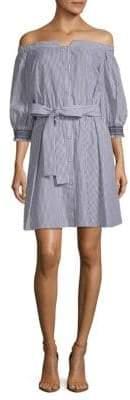Tanya Taylor Stripe Off-Shoulder Shirtdress