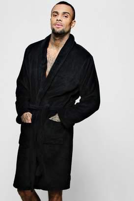 47d5d58aa6 boohoo Collared Fleece Robe With Pockets