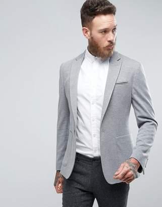 Asos Super Skinny Blazer In Gray Jersey