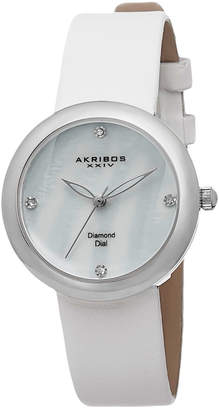 Akribos XXIV Women's Satin Diamond Watch