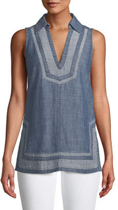 Trina Turk Pleasanton V-Neck Sleeveless Chambray Tunic Top
