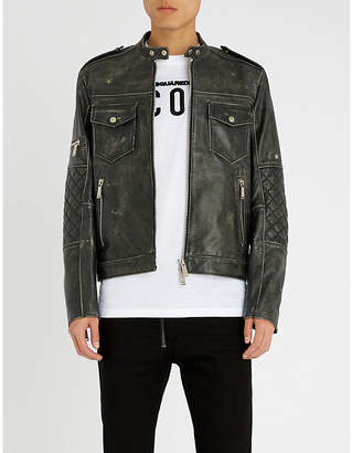 DSQUARED2 Distressed leather jacket