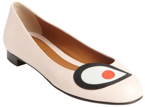 Fendi powder rose leather 'Buggies' ballet flats