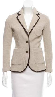 Rag & Bone Leather-Trimmed Wool Blazer