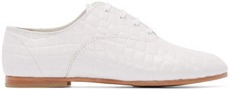 Junya Watanabe White Croc-Embossed Oxfords $550 thestylecure.com