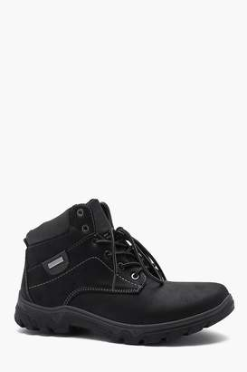 boohoo Faux Leather Hiker Boot