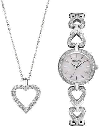 Bulova Women's Crystal Stainless Steel Watch & Heart Pendant Necklace Set - 96X136