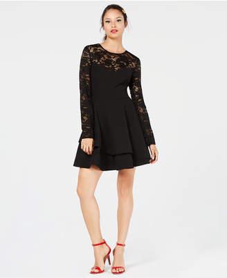 B. Darlin Juniors' Lace Fit & Flare Dress