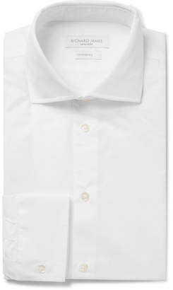 Richard James White Cutaway-Collar Polka-Dot Cotton-Jacquard Shirt