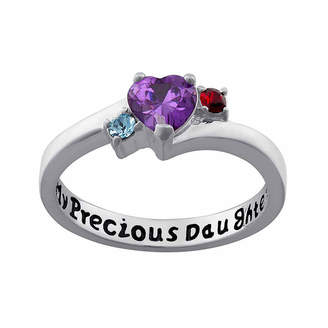 FINE JEWELRY Personalized Sterling Silver My Precious Daughter Birthstone 3-Stone Ring