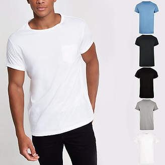 River Island Rolled sleeve pocket T-shirts multipack