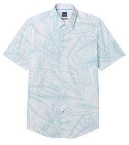 BOSS Hugo Palm Print Cotton Shirt, Regular-Fit Luka XL Light Blue