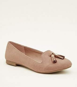 New Look Pink Suedette Tassel Front Loafers