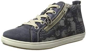 Rieker Girls' K3095 Hi-Top Sneakers, Blue (Atlantis/Jeans/Hellgrau/15), 6