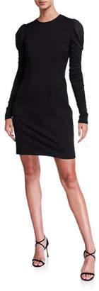 Elie Tahari Fidelia Long-Sleeve Slit-Back Mini Ponte Dress