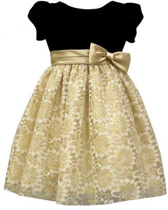 Jayne Copeland Little Girls Velvet-Bodice Dress