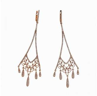 14K Rose Gold with 1.14ct Diamonds Long Dangle Earrings