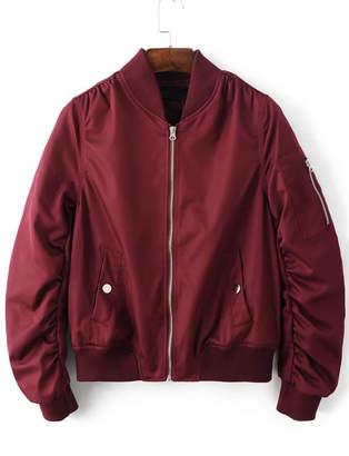 Shein Gathered Zip Sleeve Flight Jacket