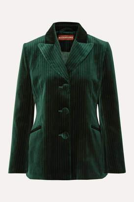 ALEXACHUNG Metallic Pinstriped Cotton-velvet Blazer - Dark green