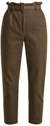 Isa Arfen Paperbag Waist Broderie Anglaise Trimmed Trousers - Womens - Khaki