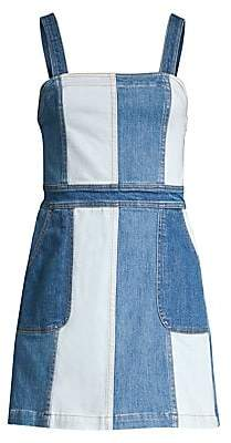 Alice + Olivia Jeans Jeans Women's Jamiee Two-Tone A-Line Denim Mini Dress