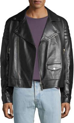 Valentino Men's Zip-Front Leather Moto Jacket