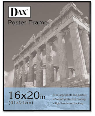 clear DAX MANUFACTURING INC. Coloredge Poster Frame with plastic window, 16 x 20, Face/Black Border