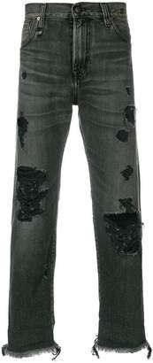 R 13 distressed slim fit jeans