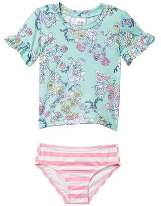 Harper Canyon Mix Print Rashguard Set (Toddler, Little Girls, & Big Girls)