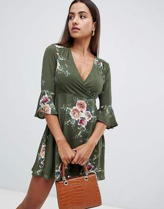AX Paris printed skater dress with flute sleeve