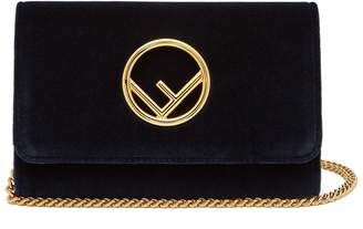Fendi Kan I Logo velvet cross-body bag
