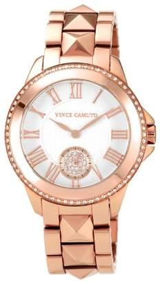 Vince Camuto Women's VC/5048SVRG Round Swarovski Crystal Accented Rosegold-Tone Bracelet Watch