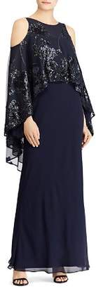 Ralph Lauren Embellished Overlay Cold-Shoulder Gown