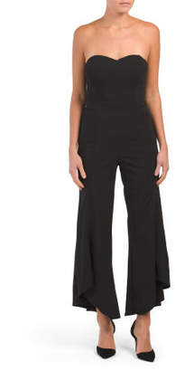 Juniors Flare Leg Strapless Jumpsuit