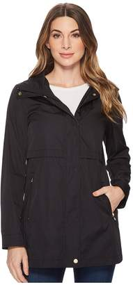 Cole Haan Zip Front Double Face Packable Rain Jacket with Detachable Hood and Curved Hem Detail Women's Coat