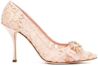 Dolce & Gabbana Lori crystal-embellished lace pumps