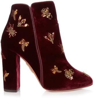 Aquazzura Fauna insect-embellished velvet ankle boots