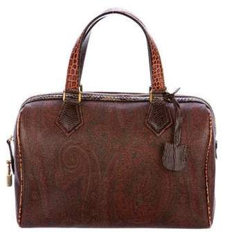 Etro Embossed-Trimmed Paisley Handle Bag