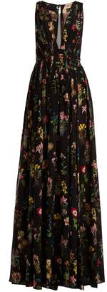 No.21 NO. 21 Floral-print sheer-panel silk maxi dress