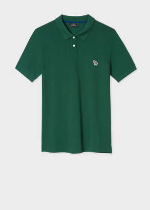 Paul Smith Men's Green Organic Cotton-Pique Zebra Logo Polo Shirt