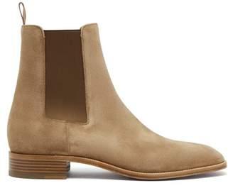 Christian Louboutin Samson Suede Chelsea Boots - Mens - Beige