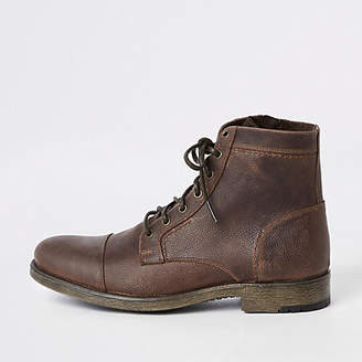 River Island Dark brown tumbled leather lace-up boots