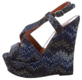 Missoni Metallic Platform Wedge Sandals