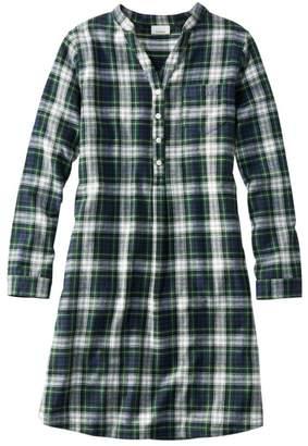 L.L. Bean L.L.Bean Women's Scotch Plaid Flannel Nightshirt, Popover Plaid