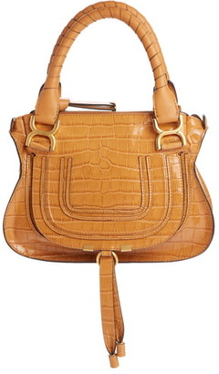 Chloé Small Marcie Croc Embossed Leather Satchel