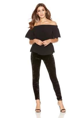 Quiz Black Crushed Velvet High Waist Leggings
