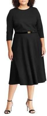 Lauren Ralph Lauren Plus Two-Piece Ponte Dress & Velvet Belt Set